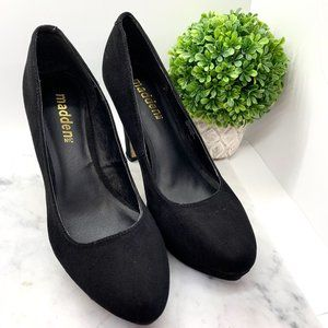 Madden NYC Black Faux Suede Leather Round Toe Stiletto Heels Pumps Size 9